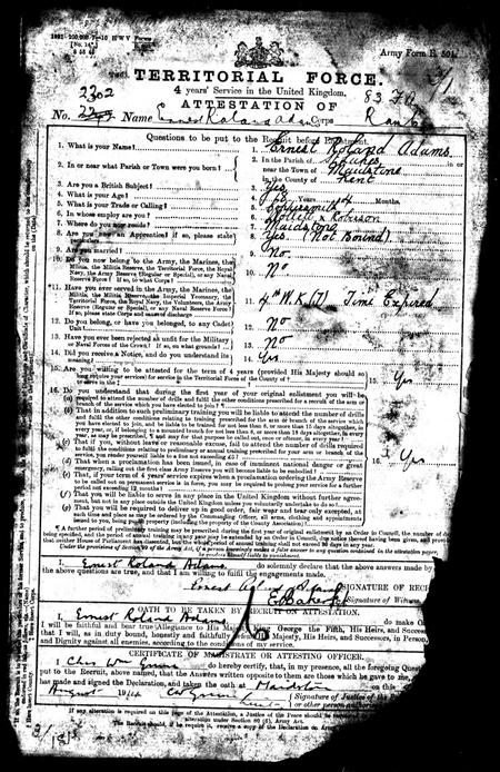 Form of attestation for service in Royal Army Medi