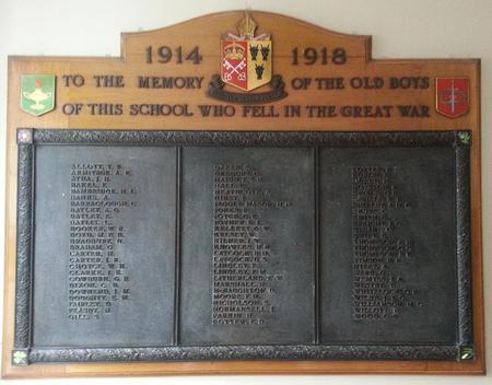 Barnsley Holgate Grammar School Old Boys WW1