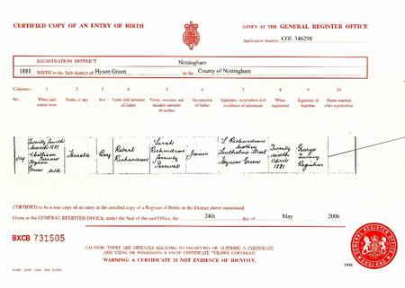Harold Richardson Birth Certificate