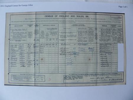 The Allen family in 1911 census