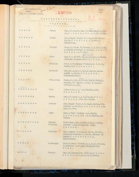 Lazarett-Listen, dated 1 Nov 1916