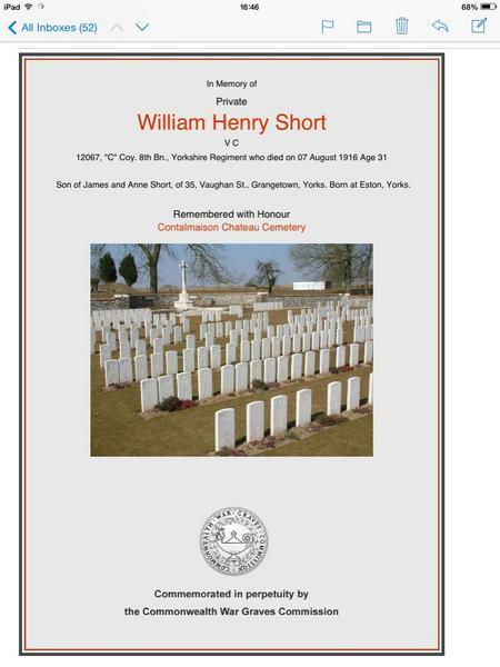 W H Short VC certificate