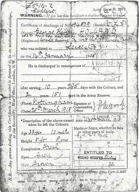 George Henry Holland Certificate of Discharge