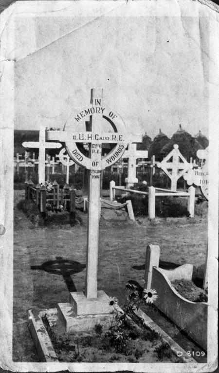 2/Lt Hugh Carr grave, with original cross.