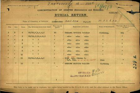 CONCENTRATION DOCUMENTS - BURIAL RETURNS