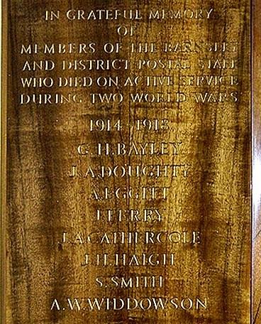 WW1 names on Memorial in Pitt Street PO