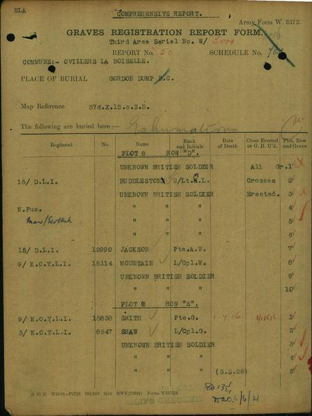CWGC bruiral record Gordon Dump cemetery Maurice H