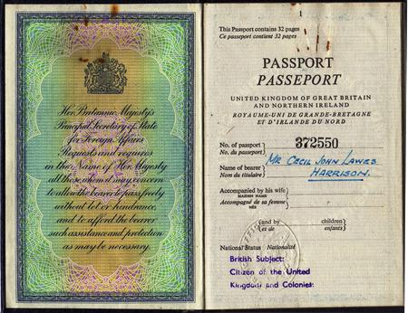 First page of Cecil Harrison's passport