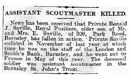 Ronald J Saville reported dead Barnsley Chronicle