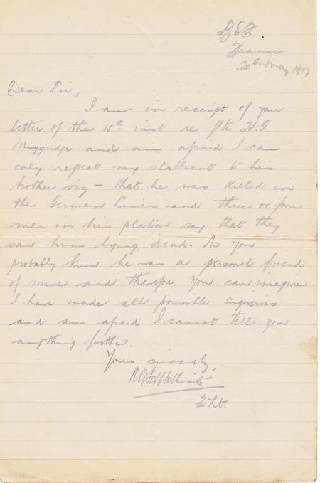 Letter from 2nd Lieutenant R S Heppletwaite