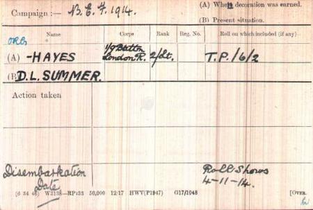2nd Lt. D L Summer Hayes Medal Card
