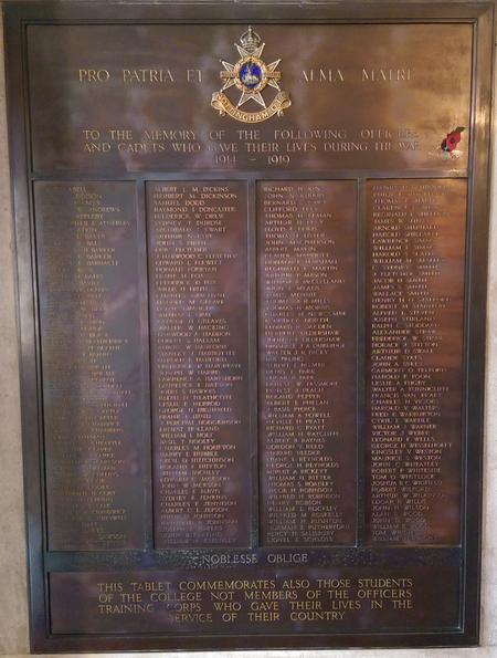 Memorial Plaque at the University of Nottingham