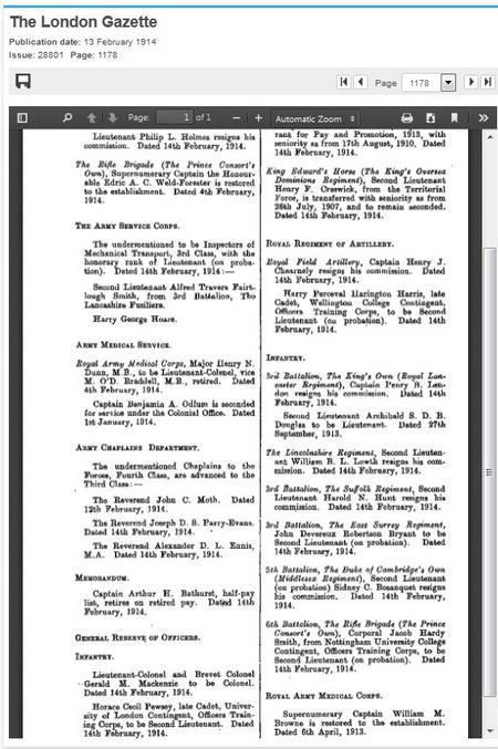 Commission, London Gazette
