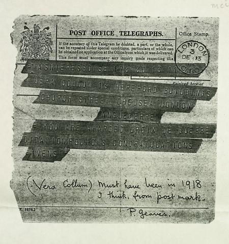 Telegramme announcing award of Croix de Guerre