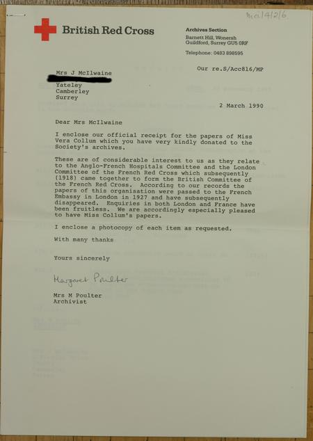 Letter from Red Cross accepting documents