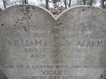 Headstone of William Henry Allen (date of death)