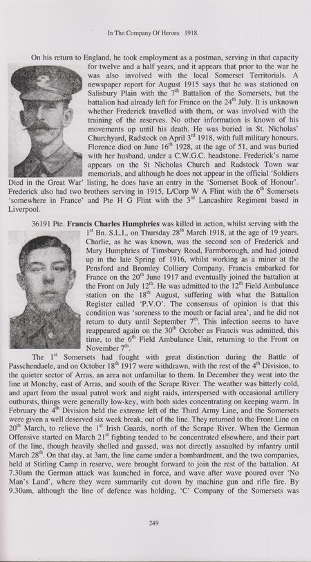 Charlie Humphreys - Somerset Light Infantry