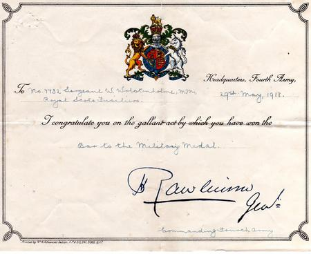 Bar to Military Medal Certificate