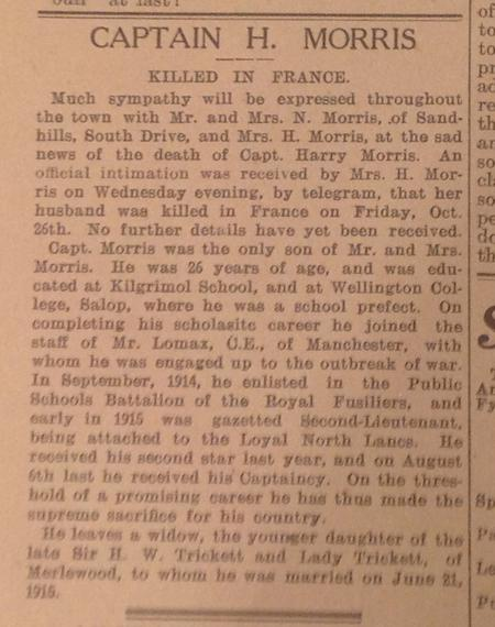 Report in St Annes-on-Sea Express, 2/11/1917
