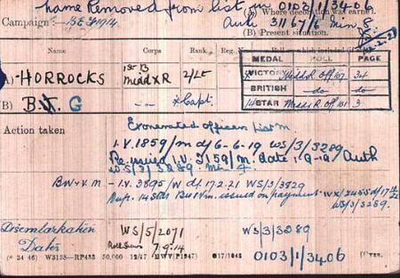 Brian G Horrocks Medal Index Card