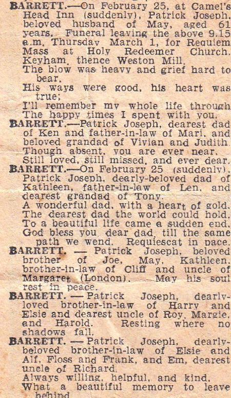 Obituary for Patrick Joseph Barrett