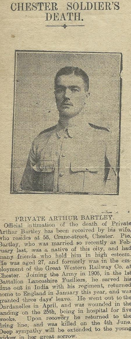 Newspaper cutting concerning his death