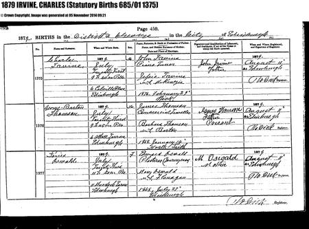Birth registration from ScotlandsPeople website
