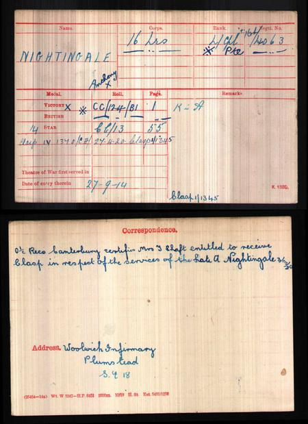 WWI Medal Index Card 1914-1920, Army Medal Office