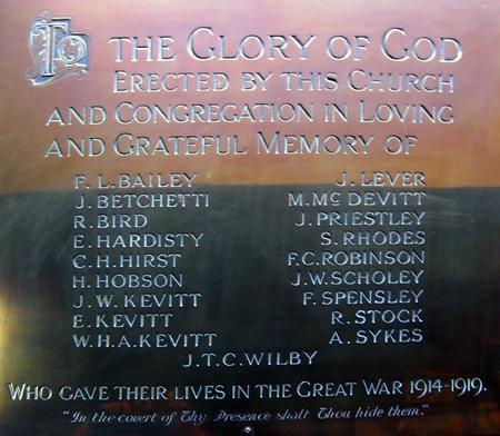 Barnsley, Sheffield Rd, Baptist WW1 Memorial
