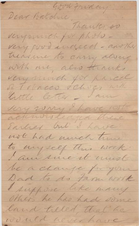 Last letter, Good Friday 1917, page 1 of 2