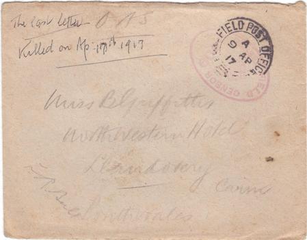 Last letter, Good Friday 1917, envelope