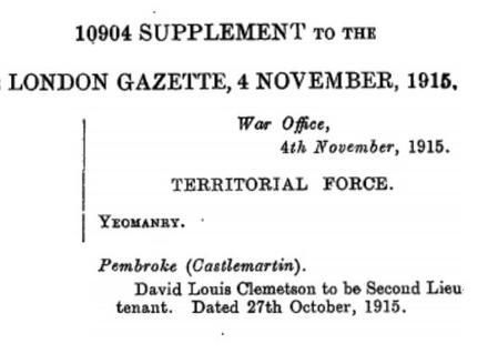 DL Clemetson Commission reported London Gazette