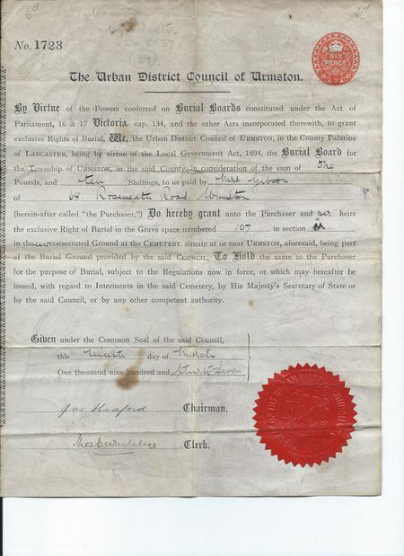 Rights of Burial Form