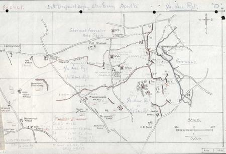 Trench map of 1/4 Leicesters May 1915