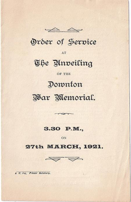 Order of Service - 27th March 1921