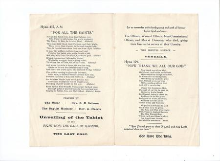 Order of Service - Centre Pages