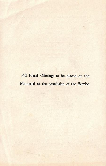 Order of Service - Back Page