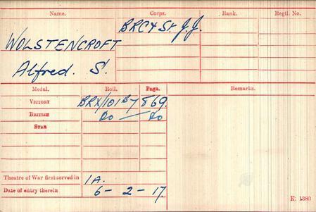 Medal Card Alfred Wolstencroft