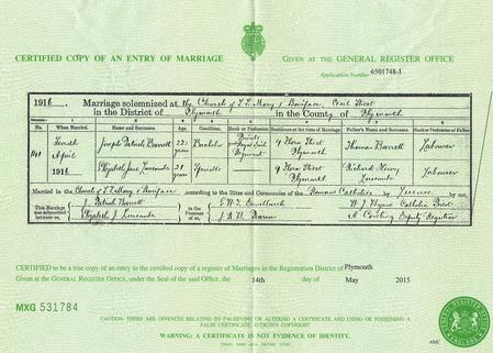 Patrick Barrett's marriage certificate