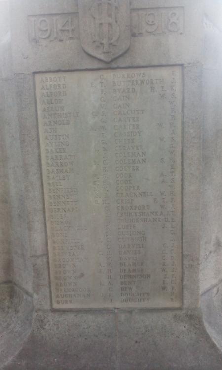 War memorial, St John the Baptist, Barnet, Herts