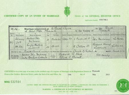 Herbert Mahoney's Marriage Certificate