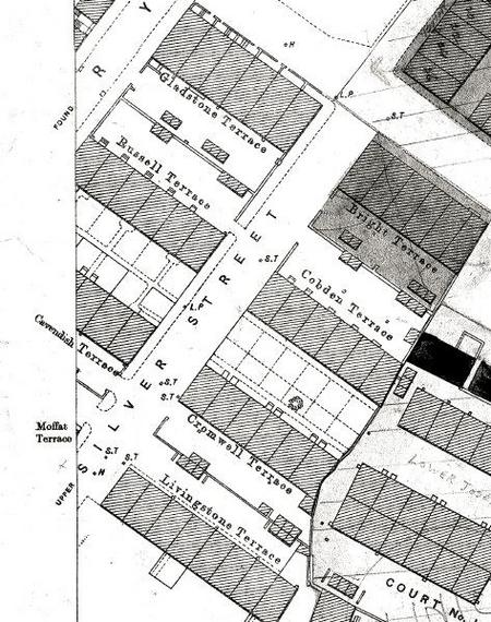 1889 map snip of the terraces off Silver Street