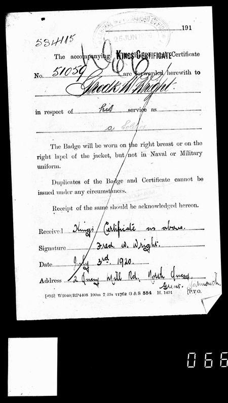 king's certificate