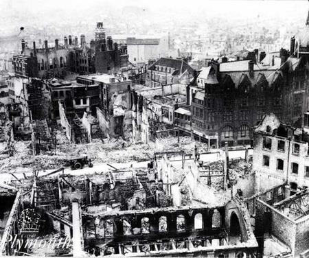 Bomb-damaged Plymouth City Centre in 1941
