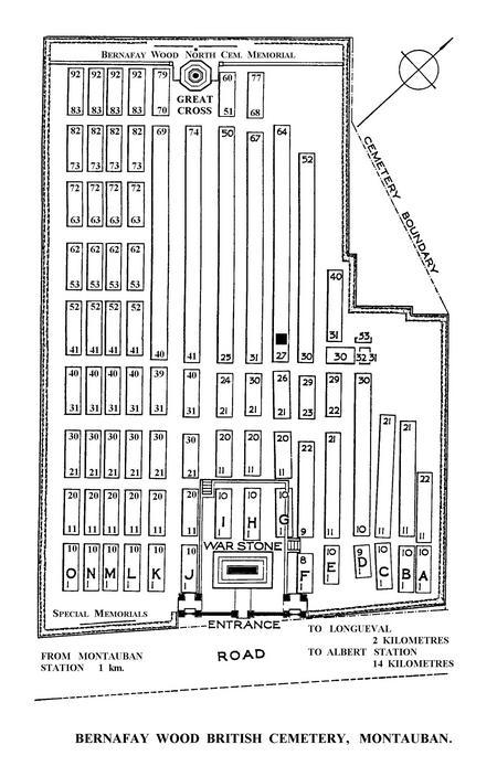 Bernafay Wood cemetery plan