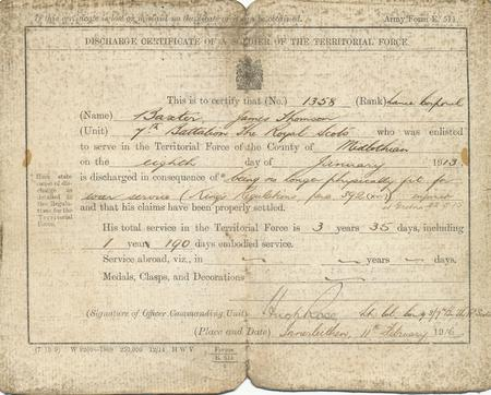 Discharge Certificate of James T Baxter 1916
