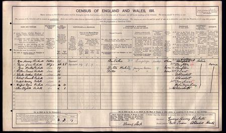 1911 Census record for Ricketts family