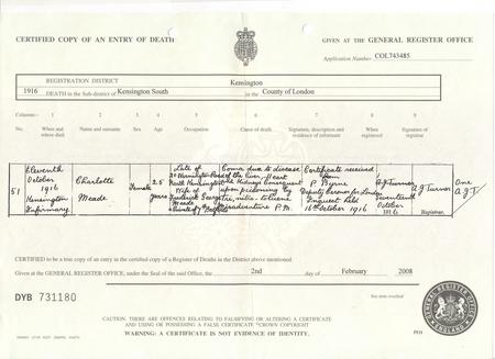 Death certificate for Charlotte Meade