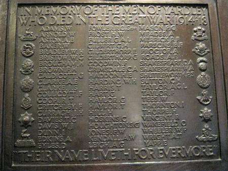 WW1 Memorial to the men of Yardley