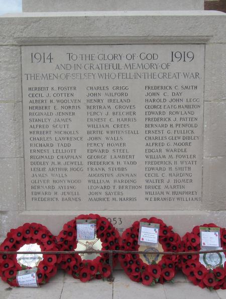 Selsey War Memorial - detail view